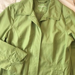 Eddie Bauer Green Trench Raincoat Like New